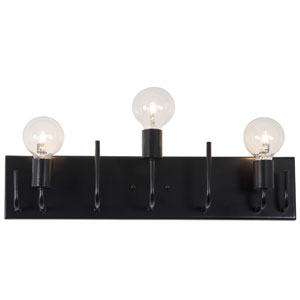 Socket-To-Me Black Three-Light Wall Sconce
