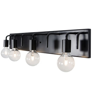 Socket-To-Me Black Four-Light Wall Sconce