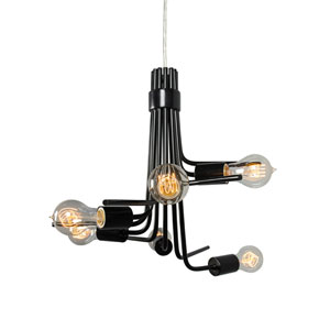 Socket-To-Me Black Six Light Hand Forged Recycled Steel Chandelier