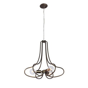The Whole Package New Bronze Three Light Hand Forged Recycled Steel Chandelier