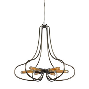 The Whole Package New Bronze Six Light Hand Forged Recycled Steel Chandelier