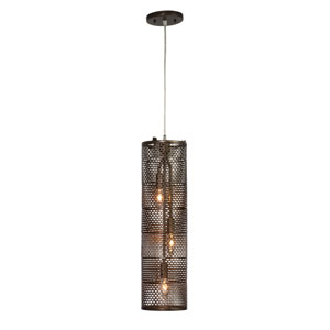 Lit-Mesh Test New Bronze Three Light Hand Forged Recycled Steel Foyer Pendant