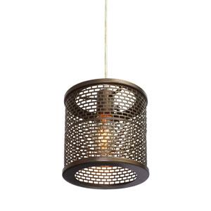 Lit-Mesh Test New Bronze Single Light Hand Forged Recycled Steel Mini Pendant