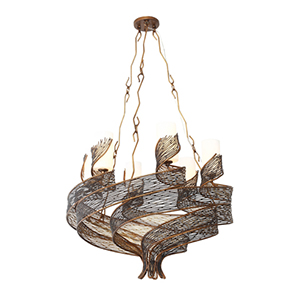 Flow Hammered Ore Six Light Chandelier