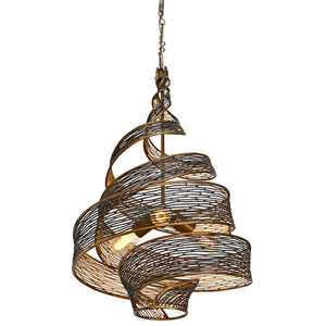 Flow Hammered Ore Three Light Pendant