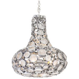 Fascination Metallic Silver 24-Inch Four-Light Carafe Pendant