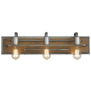 Lofty Wheat and Steel 25-Inch Three-Light Bath Sconce
