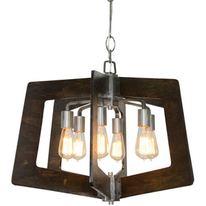 Lofty Steel  Six-Light Chandelier