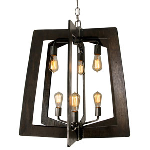 Lofty Steel  Six-Light Two-Tier Chandelier