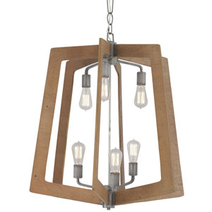 Lofty Wheat and Steel 26-Inch Six-Light Chandelier