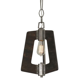 Lofty Faux Zebrawood and Steel 11-Inch One-Light Pendant