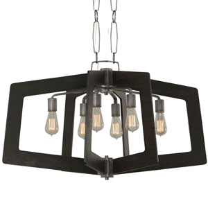 Lofty Faux Zebrawood and Steel 36-Inch Six-Light Pendant