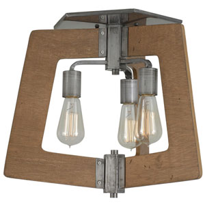 Lofty Wheat and Steel 18-Inch Three-Light Flush Mount