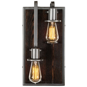 Lofty Steel and Faux Zebrawood Two Light Left Wall Sconce