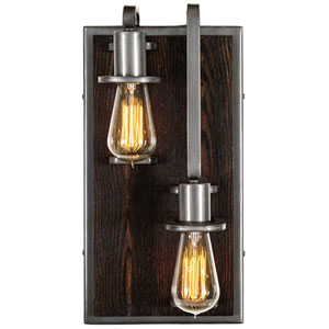 Lofty Steel and Faux Zebrawood Two Light Right Wall Sconce