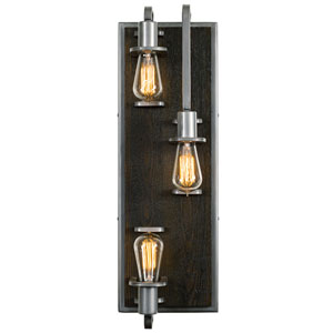 Lofty Steel and Faux Zebrawood Three Light Wall Sconce