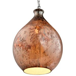 French Quarter Chrome One-Light Red Copper Glass Pendant
