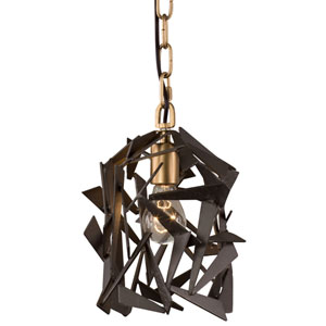 Bermuda Antique Gold with Rustic Bronze One Light Mini Pendant