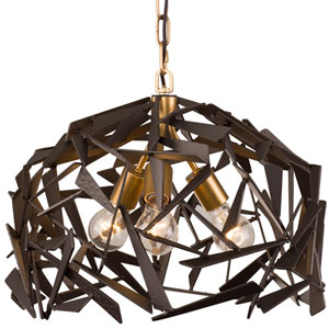 Bermuda Antique Gold with Rustic Bronze Three Light Pendant