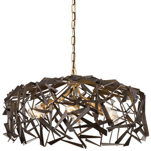 Bermuda Antique Gold with Rustic Bronze Six Light Pendant