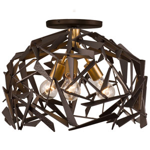 Bermuda Antique Gold with Rustic Bronze Three Light Semi Flush Mount