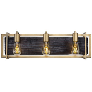 Madeira Rustic Gold Three-Light Bath Vanity