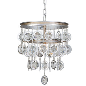 Charmed Silver with Champagne Mist Three-Light Chandelier