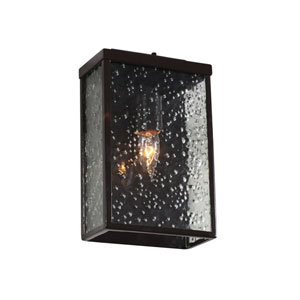 Mission You Glossy Bronze Single Light Outdoor Wall Mount w/ Hand Pressed Recycled Glass