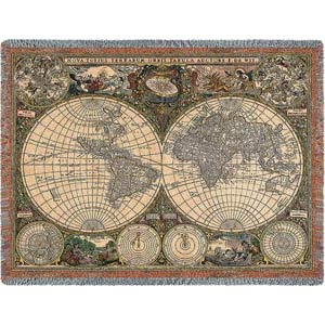 Old World Map Throw