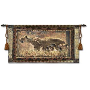 Protecting Cubs Woven Wall Tapestry