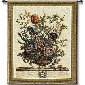 February Botanical Tapestry Wall Hanging