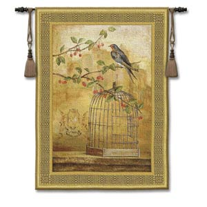 Oiseau Cage Cerise II Woven Wall Tapestry