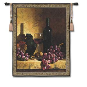 Wine Bottle with Grape Small Woven Wall Tapestry