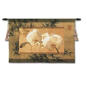 Bamboo And Orchids I Woven Wall Tapestry