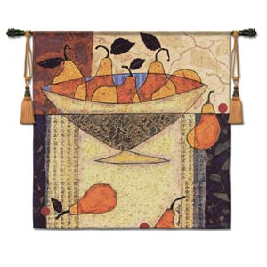 Asian Pears In Bowl Woven Wall Tapestry