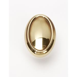 Classic Traditional Polished Antique 1 1/2-Inch Oval Knob