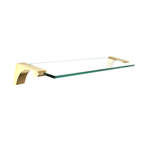 Luna Unlacquered Brass 18-Inch Glass Shelf With Brackets