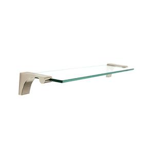 Luna Polished Nickel 18-Inch Glass Shelf With Brackets