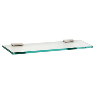 Arch Polished Nickel 18-Inch Glass Shelf w/Brackets
