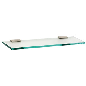 Arch Satin Nickel 18-Inch Glass Shelf w/Brackets