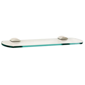 Contemporary III Polished Chrome 18-Inch Glass Shelf w/Brackets