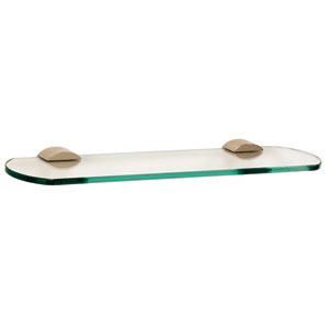 Contemporary III Polished Nickel 18-Inch Glass Shelf w/Brackets