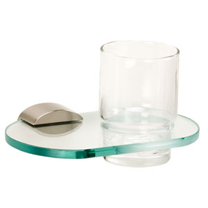 Contemporary III Satin Nickel Tumbler Holder w/Glass