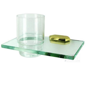 Nicole Polished Brass Glass Tumbler w/Holder