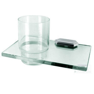 Nicole Polished Chrome Glass Tumbler w/Holder