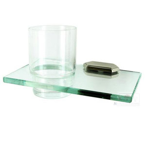 Nicole Polished Nickel Glass Tumbler w/Holder