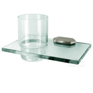 Nicole Satin Nickel Glass Tumbler w/Holder