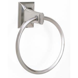 Geometric Satin Nickel 6-Inch Towel Ring