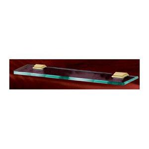 Geometric Satin Nickel 18-Inch Glass Shelf w/Brackets