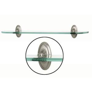 Classic Traditional 24-Inch Satin Nickel Glass Shelf